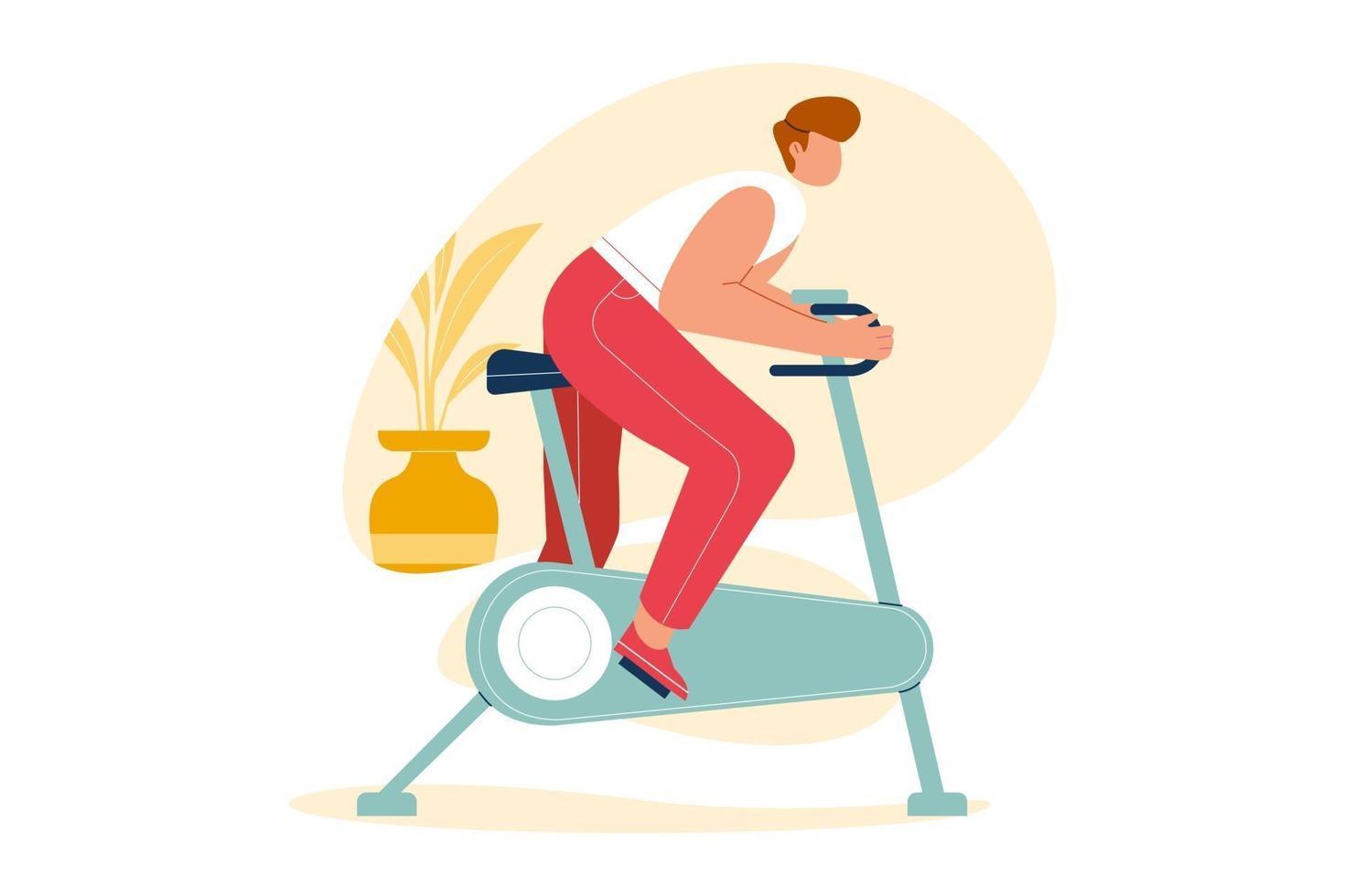 pessoas se exercitam em bicicleta, bicicleta estacionária em casa. conceito de ilustração vetorial de estilo de vida saudável. vetor