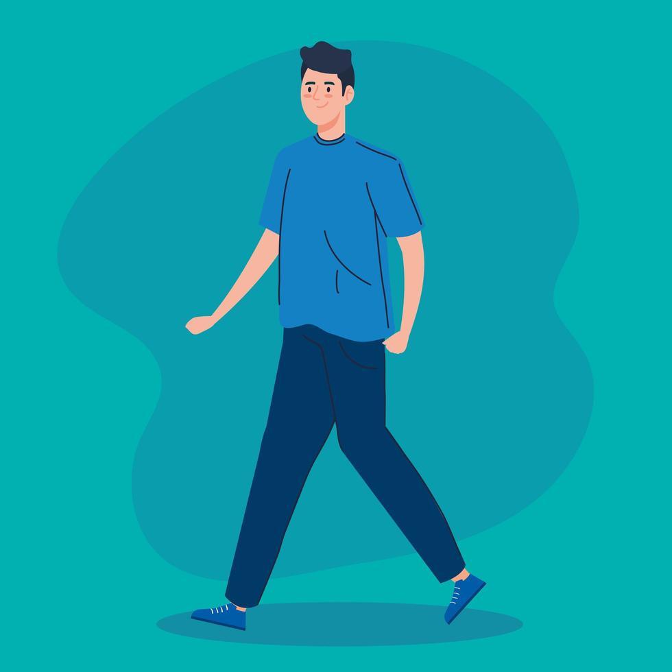 ícone de personagem avatar jovem caminhando vetor