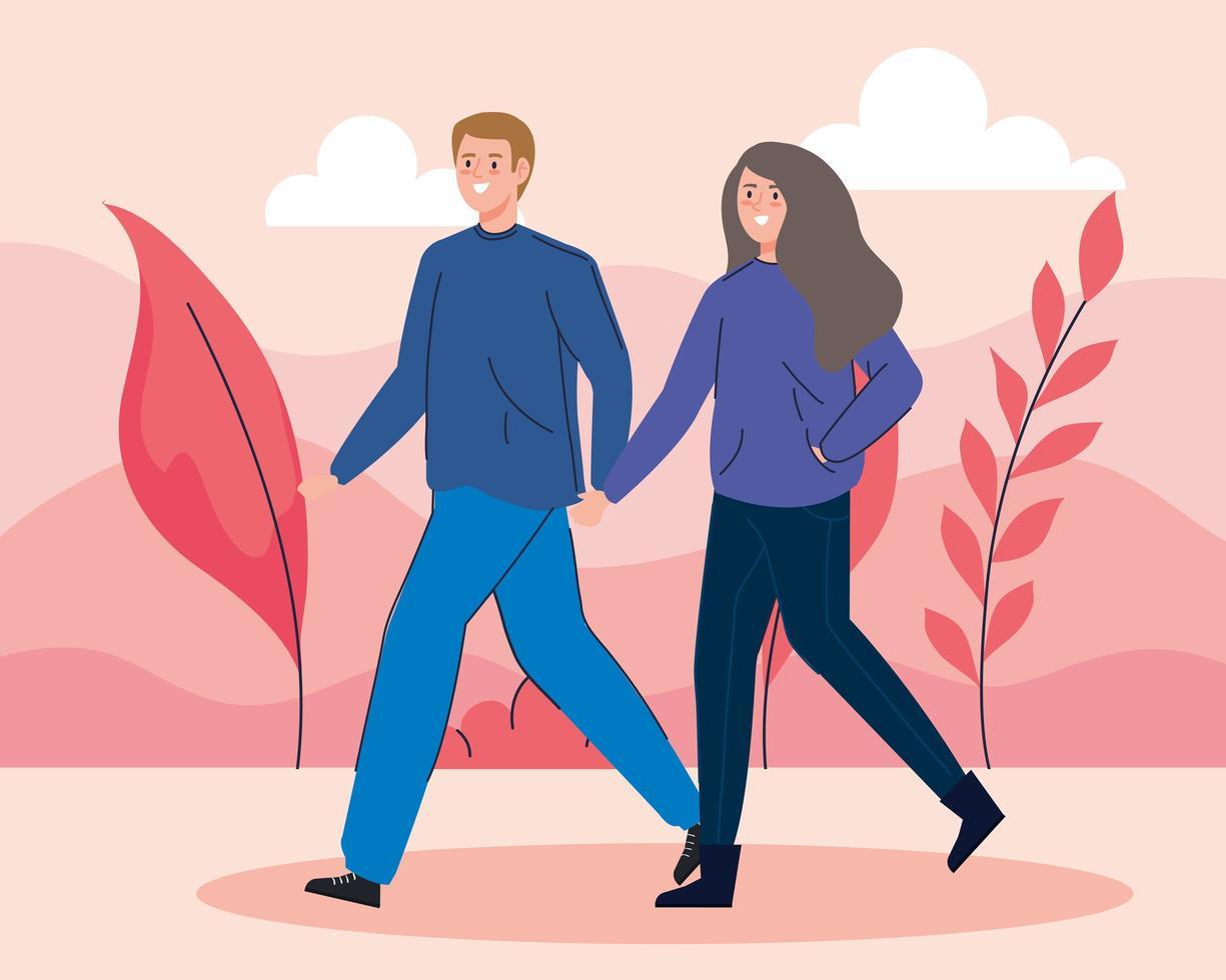 jovem casal caminhando ao ar livre vetor