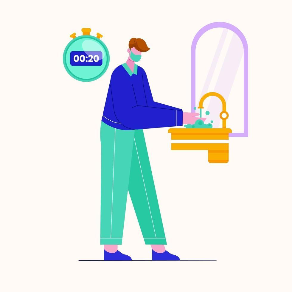 ilustração em vetor de jovens lavando as mãos em 20 segundos. prevenção contra coronavírus.