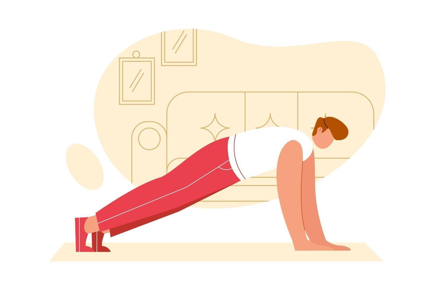 ilustração plana de jovem rapaz treinando em flexões. pessoas fazendo vetor de exercício para ginásio, esporte, design de fitness.