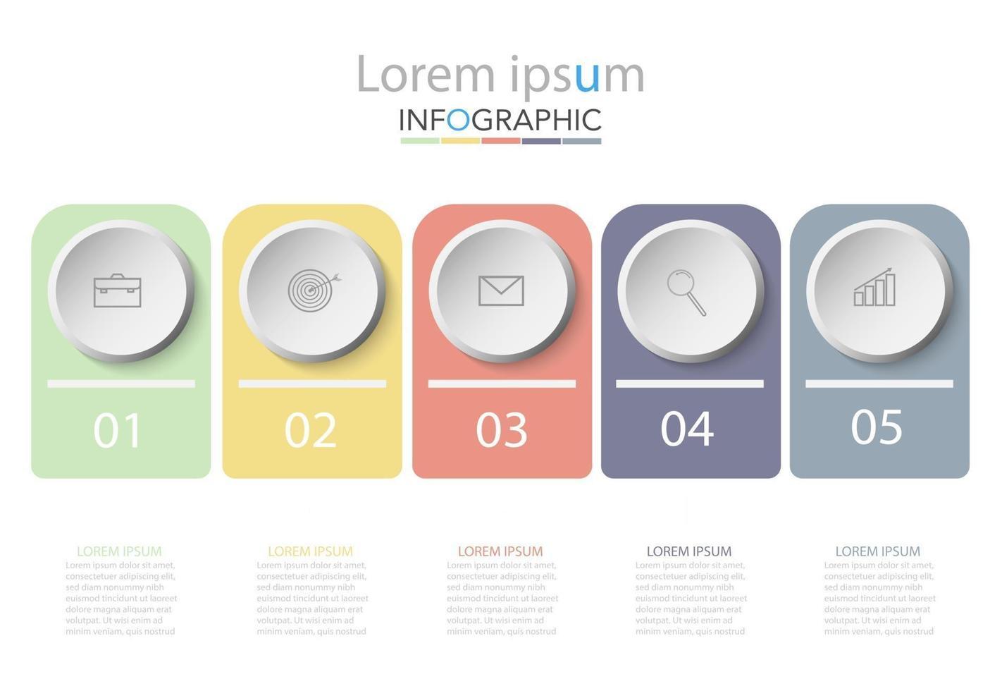 modelo de infográfico de círculo de cronograma mínimo cinco opções ou etapas vetor