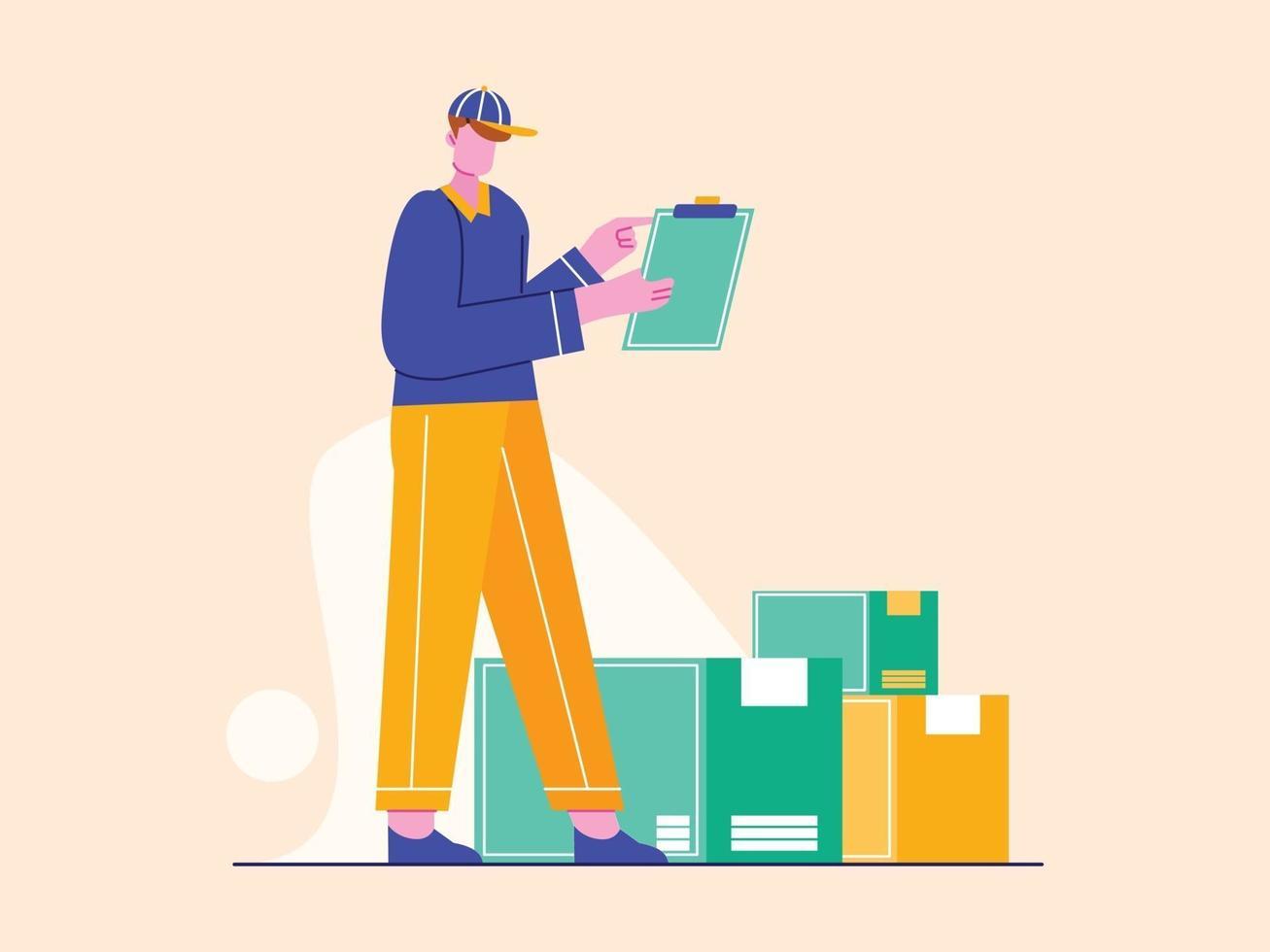 correio com ilustração vetorial de parcelas. conceito de serviço de entrega em estilo simples vetor