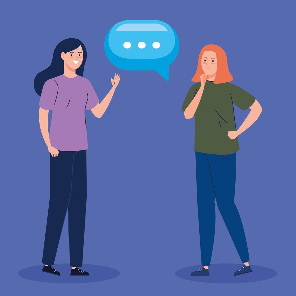 mulheres jovens falando personagens vetor