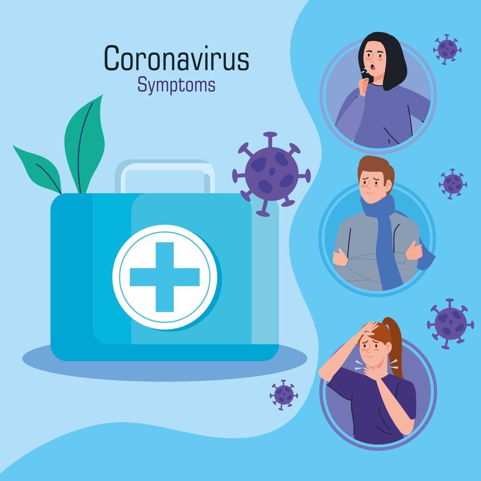 infográfico de campanha de sintomas de coronavírus vetor
