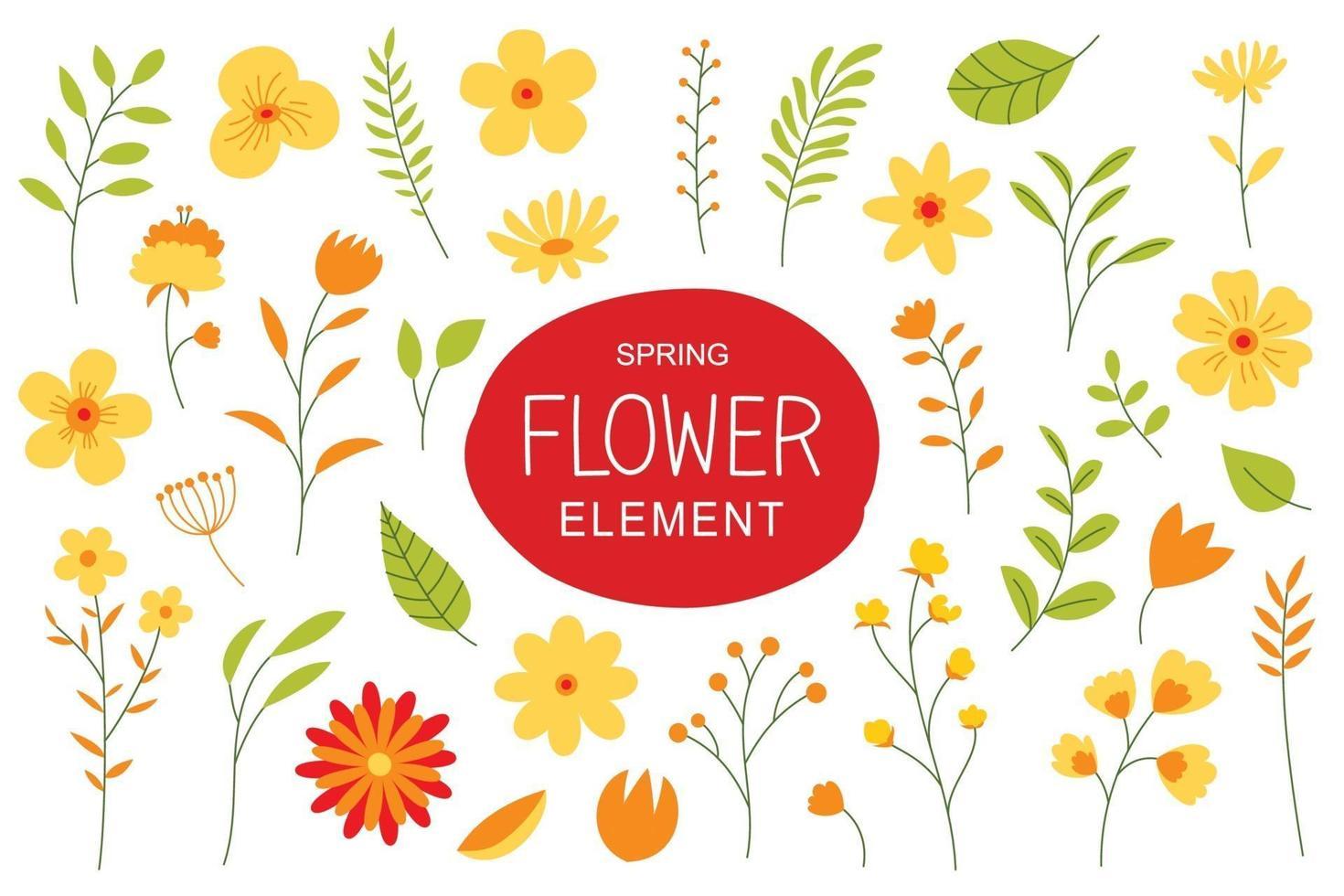 flores e folhas na primavera. elementos de design simples com conjunto de flores da primavera. vetor