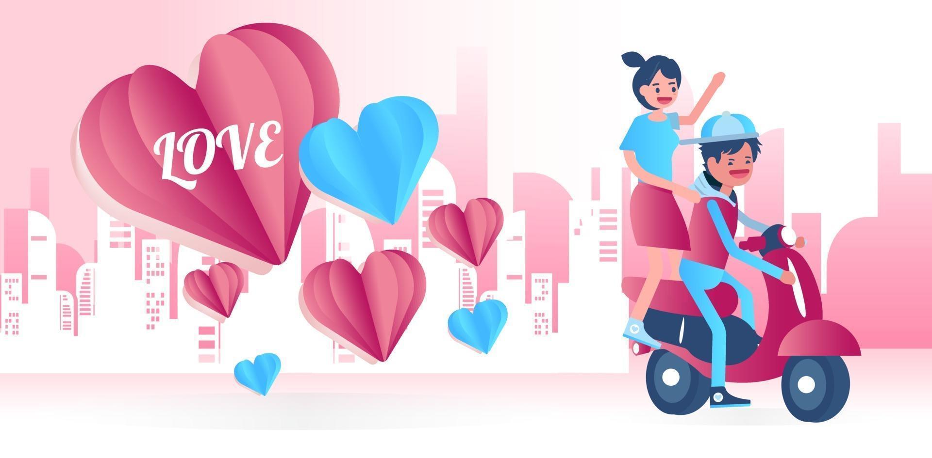 jovem casal andando de bicicleta feliz juntos. vetor