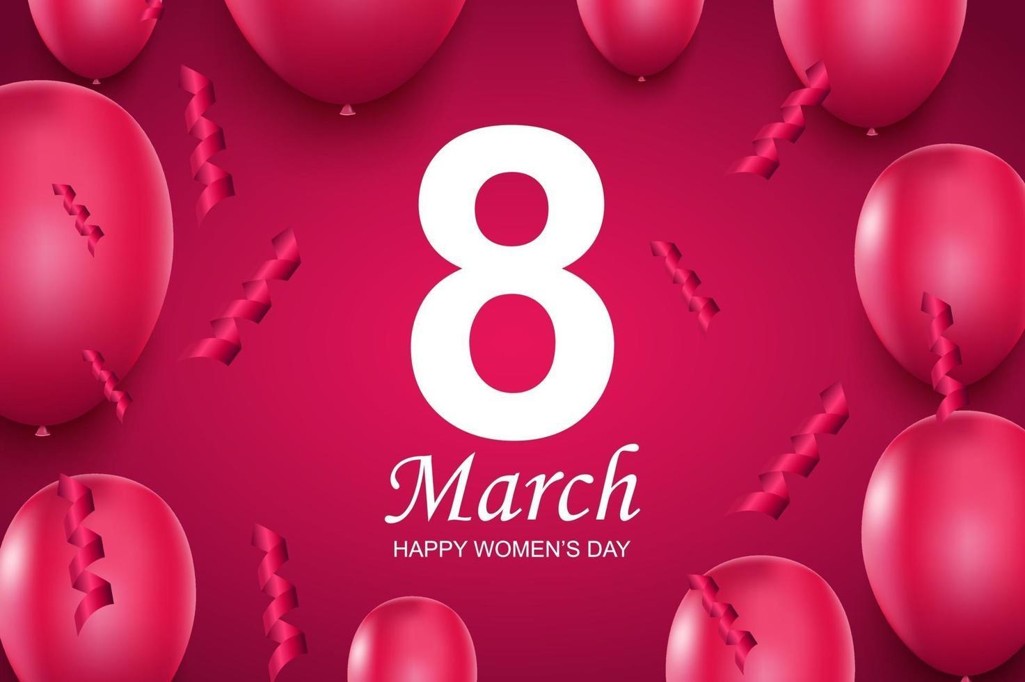 feliz dia da mulher cartão. balões de ar rosa e confetes caindo. vetor