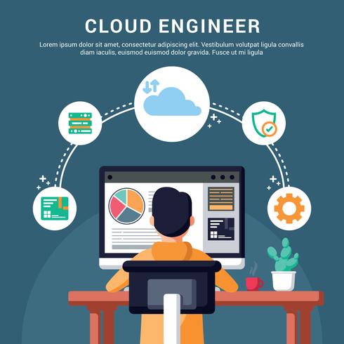 Ilustração de engenheiros de nuvem vetor