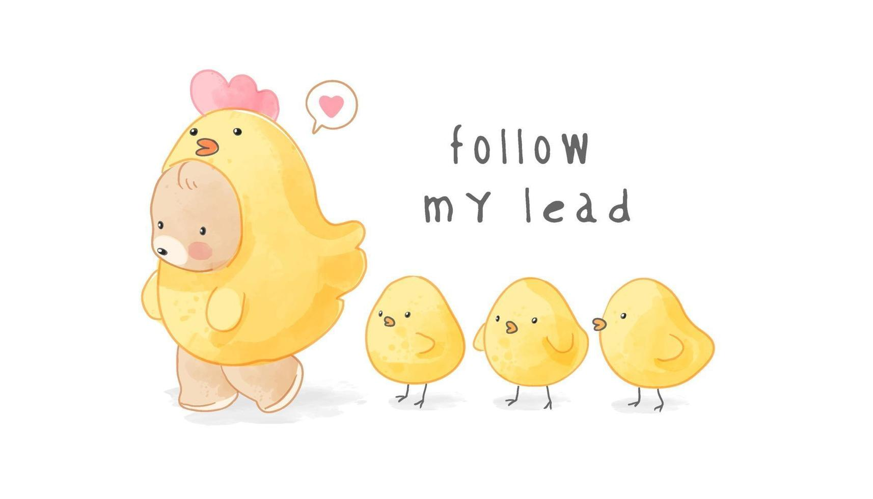 Urso fofo fantasiado de galinha amarela seguido de ilustração de pintinhos vetor