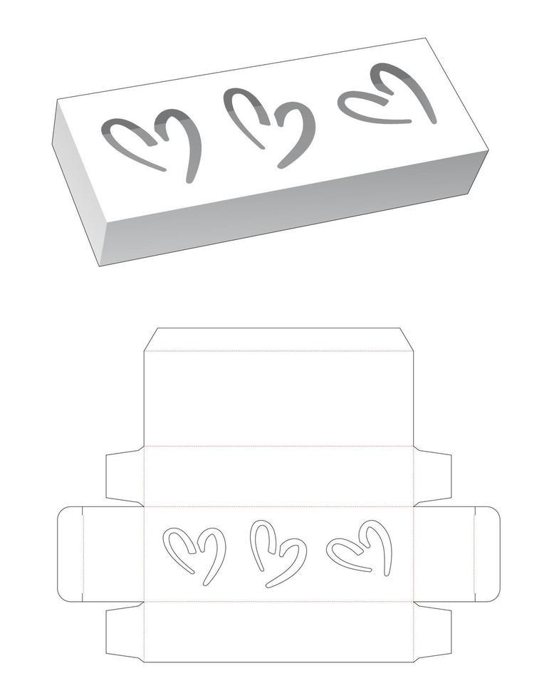 modelo de caixa longa com janela de 3 corações vetor