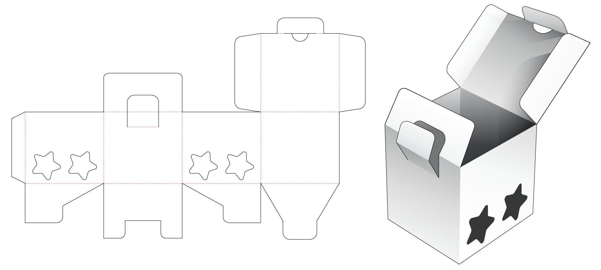 2 caixa invertida e ponto bloqueado com modelo de janela cortada em forma de 2 estrelas vetor