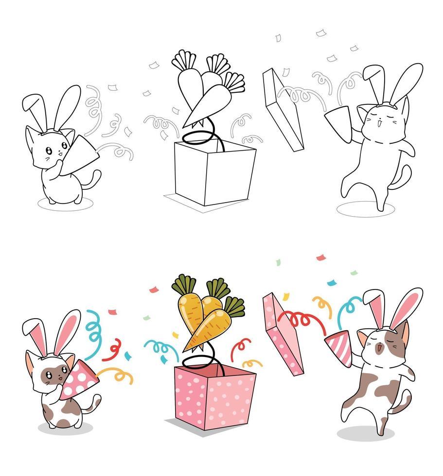 coelho gatos na página para colorir desenho animado vetor