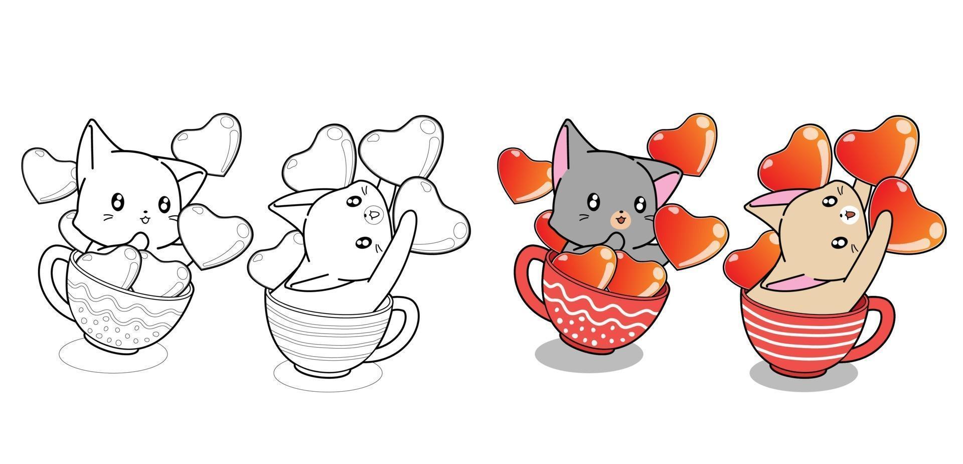 página para colorir dos desenhos animados do casal bonito na xícara de café vetor