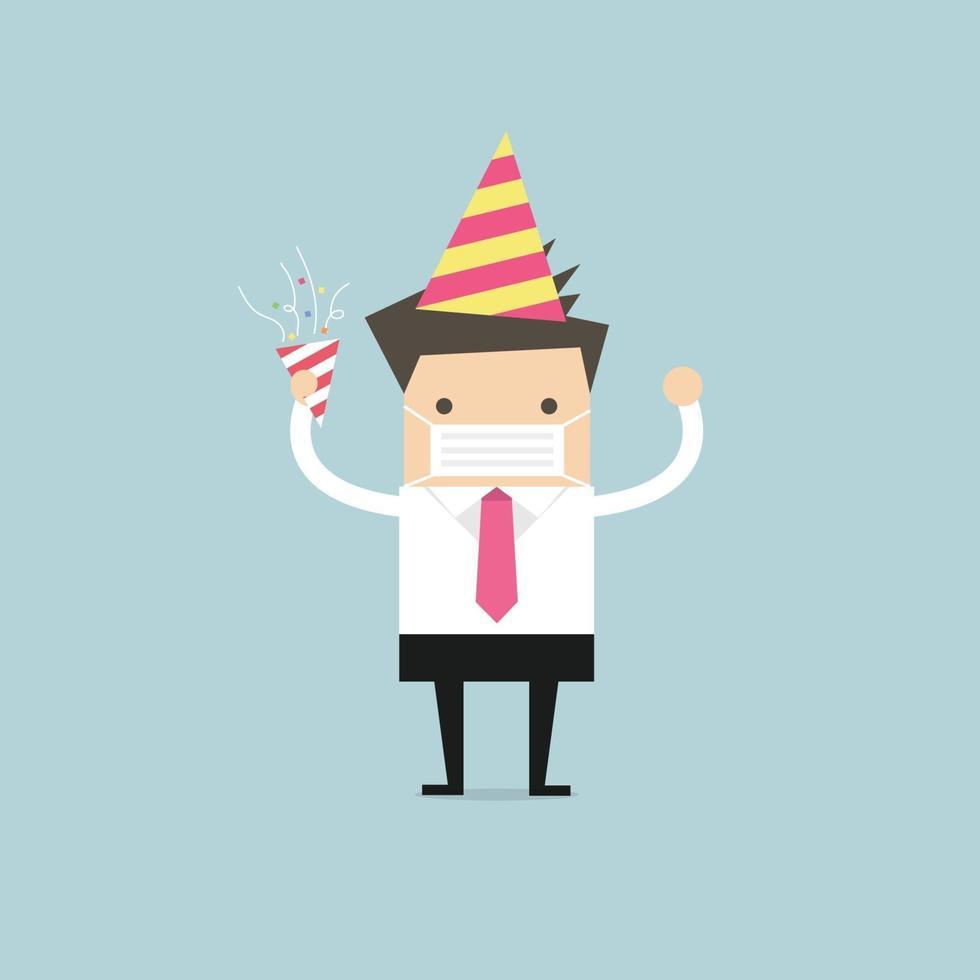 empresário comemora em uma festa enquanto usava uma máscara cirúrgica. vetor