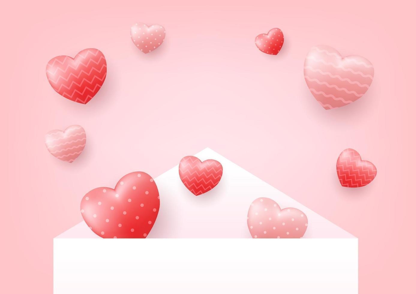 envelope branco foi aberto com corações flutuando com espaço de cópia. conceito de feliz dia dos namorados. vetor