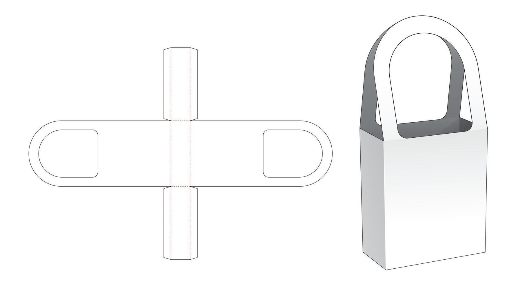modelo de corte estampado para bolsa alta de papelão vetor