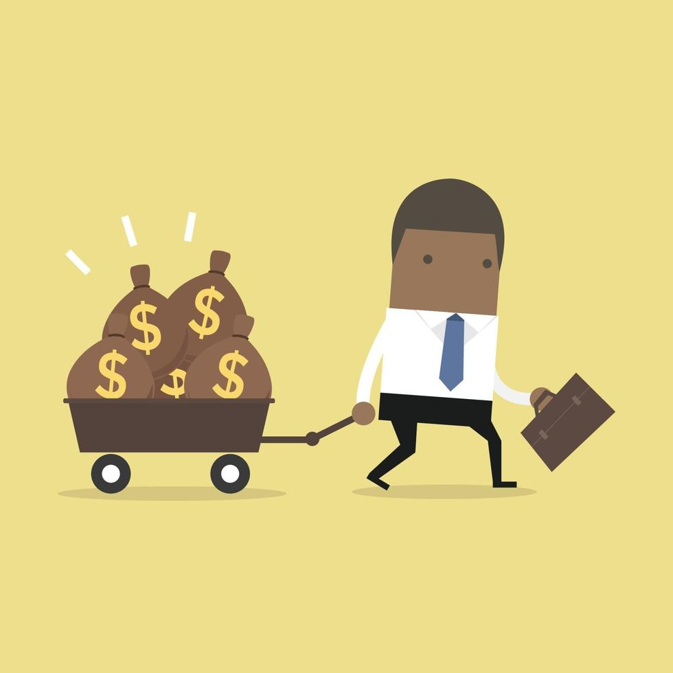 empresário afro-americano andando com um carrinho cheio de sacos de dinheiro. vetor