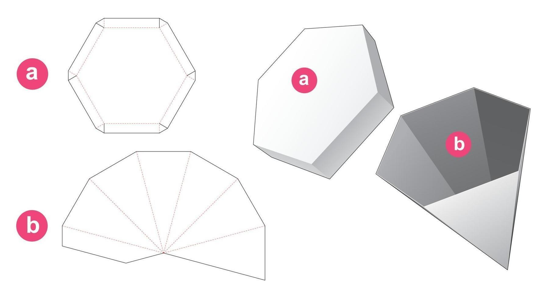 caixa em forma de pilão hexagonal e molde de tampa cortada vetor
