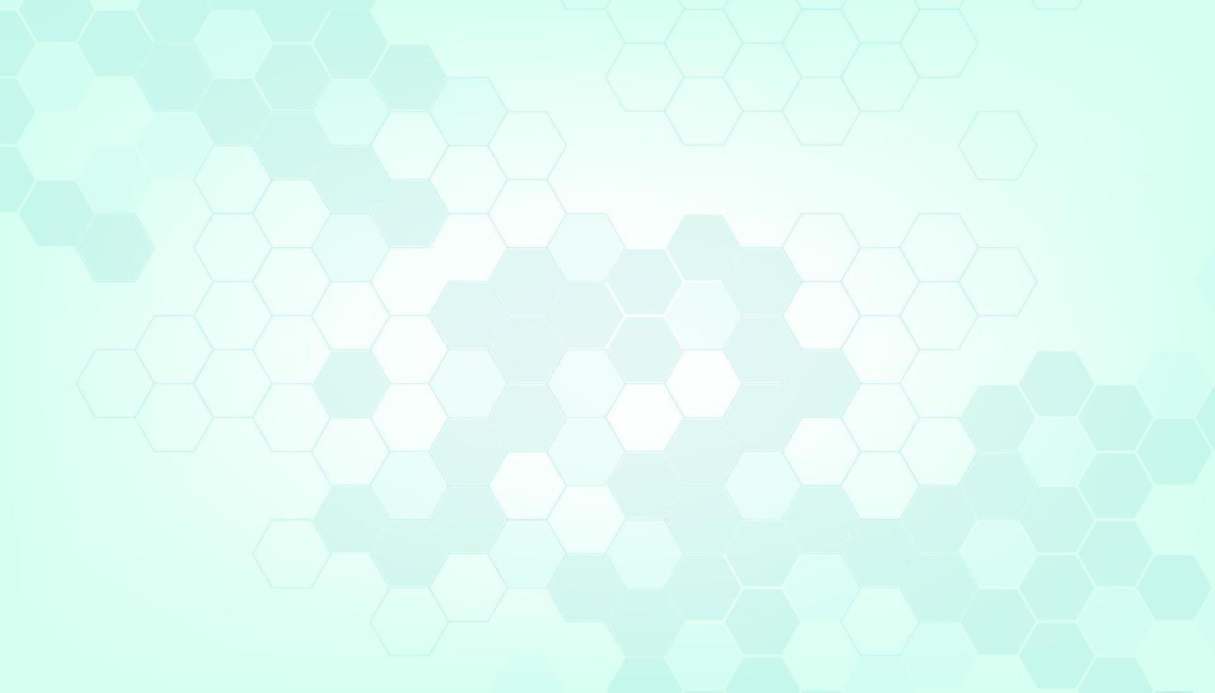 cor verde abstrata de formação médica e saudável. tecnologia e ciência com fundo de forma hexagonal. vetor