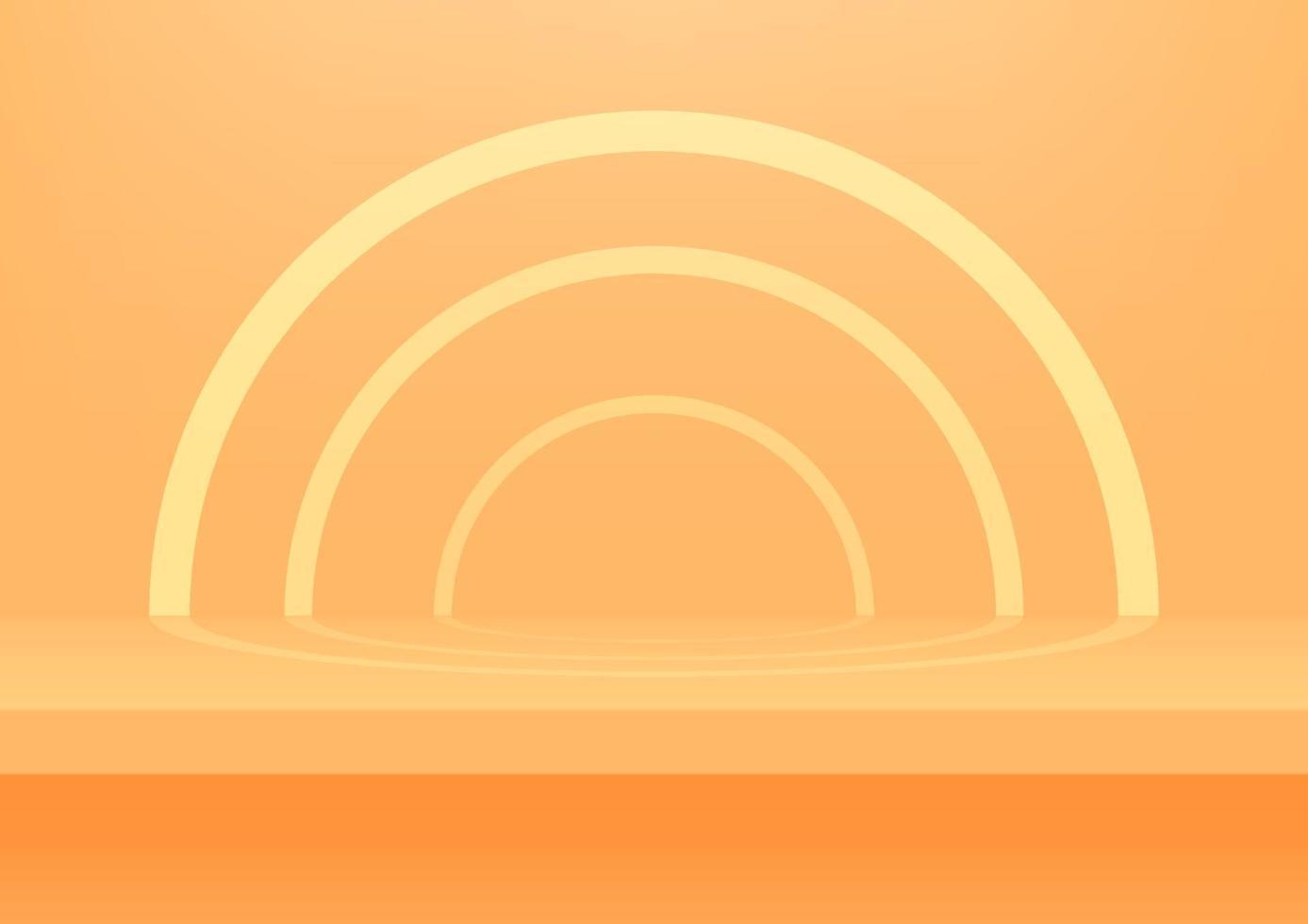 prateleira laranja realista na parede do estúdio. fundo laranja do estúdio vazio para exposição do produto com espaço de cópia. vetor