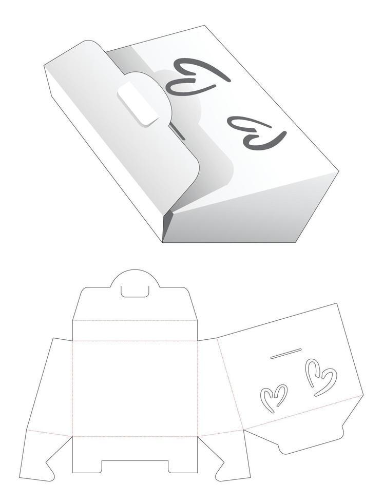 saco de papel com molde recortado de janela em forma de 2 corações vetor