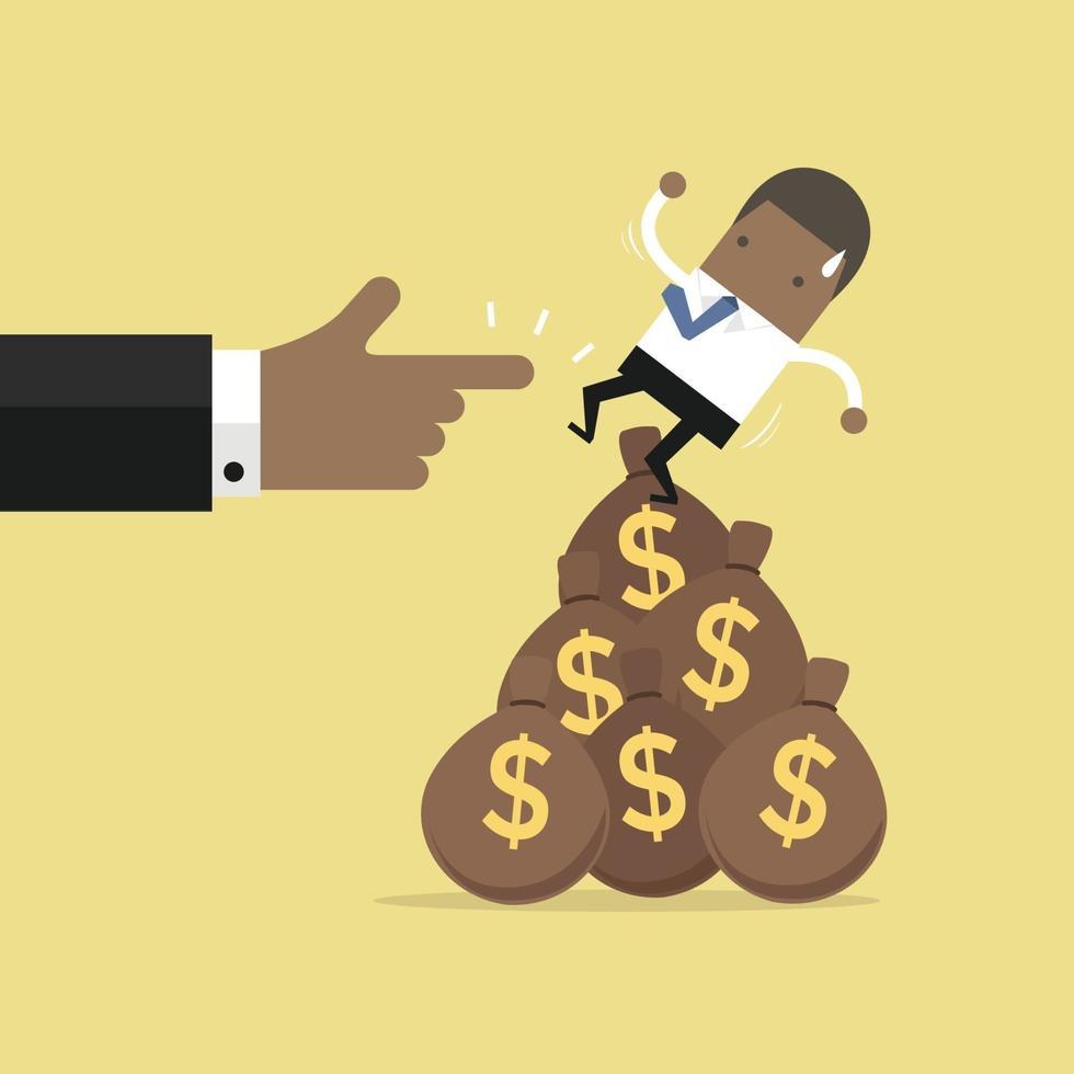 empresário afro-americano caindo do saco de dinheiro. vetor