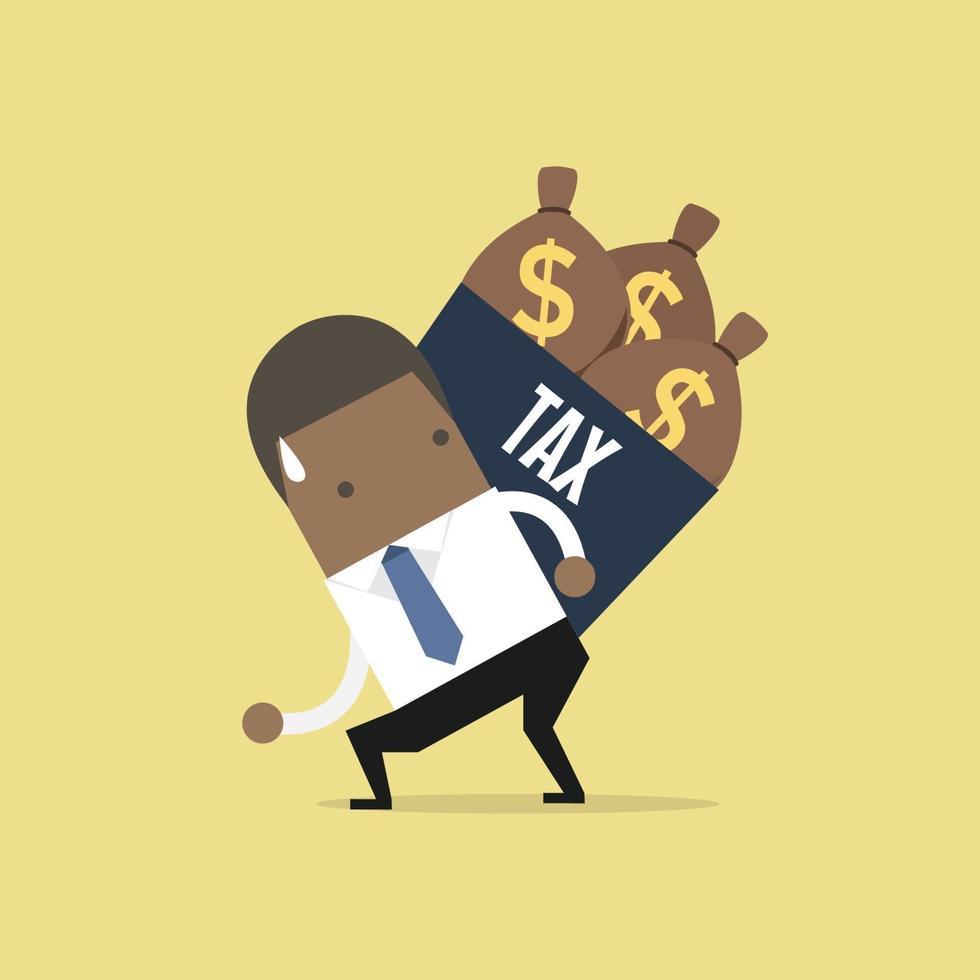 empresário afro-americano ombros caixa de imposto com saco de dinheiro. vetor