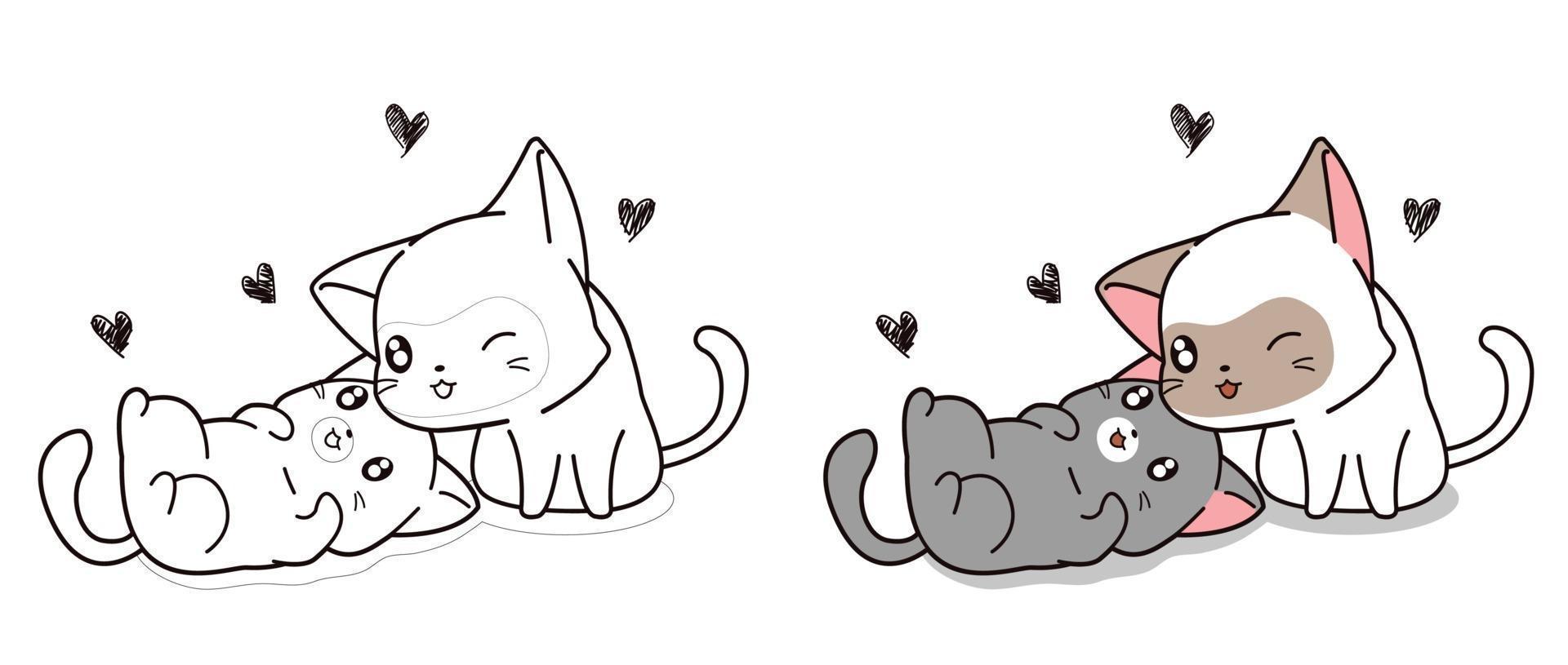 página para colorir personagem de desenho animado de gatos amantes vetor