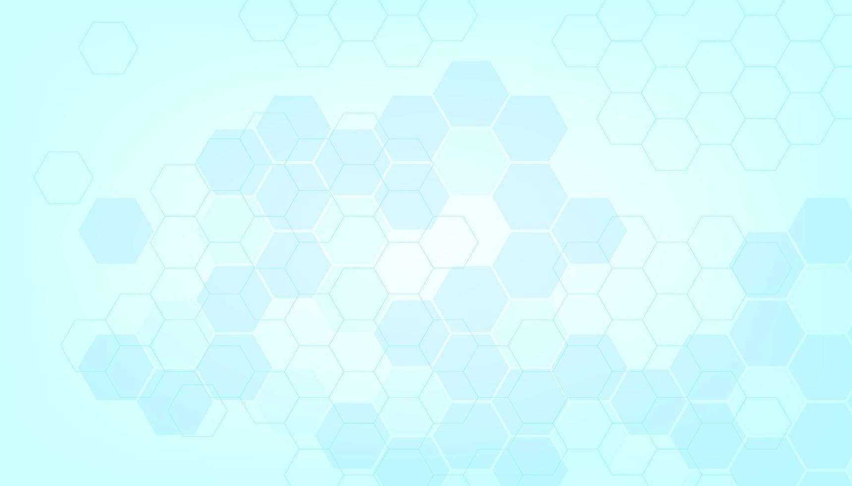cor azul abstrata de formação médica e saudável. tecnologia e ciência com fundo de forma hexagonal. vetor