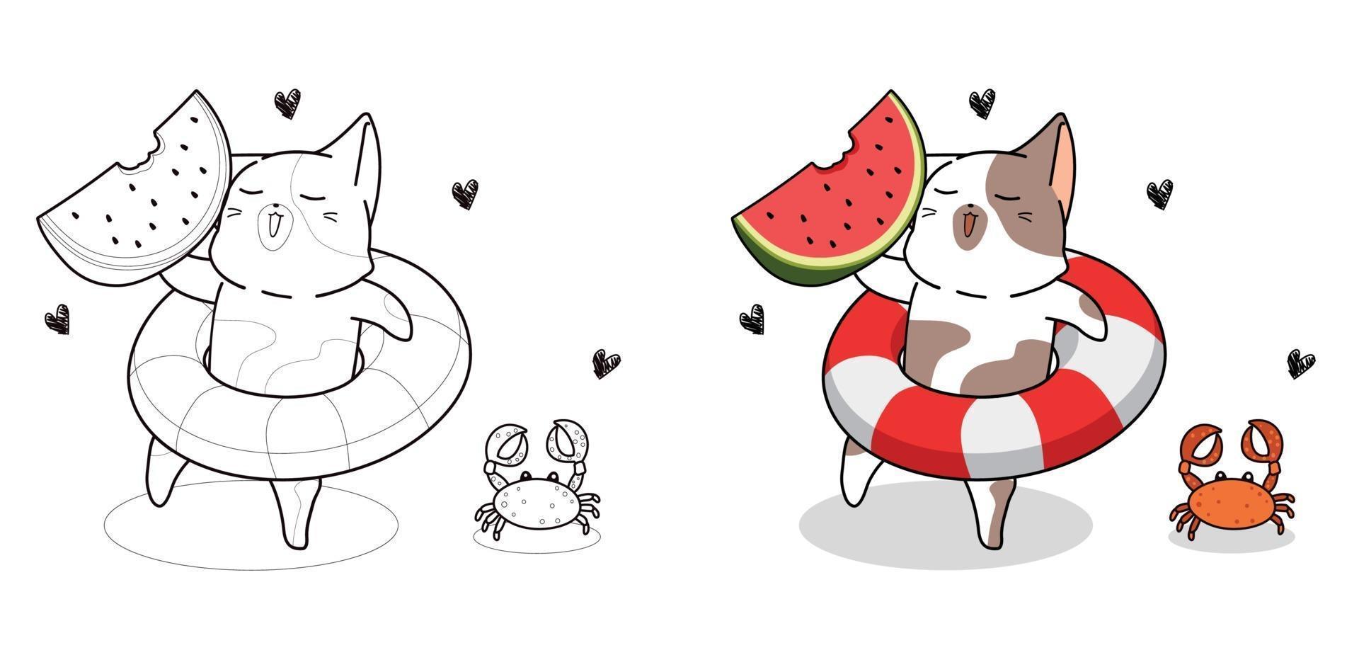 gato fofo de férias com desenho de anel de piscina para colorir vetor