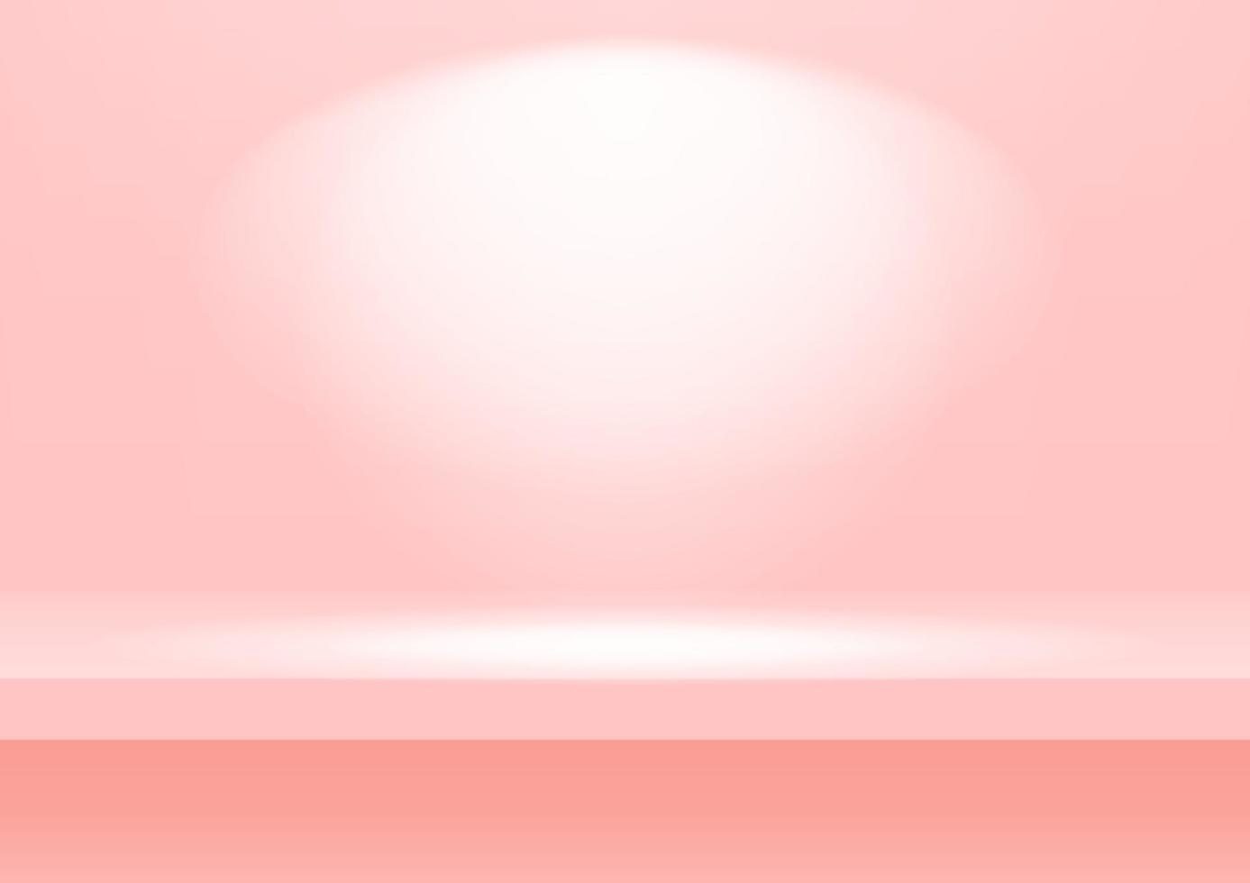 prateleira rosa realista na parede do estúdio. fundo rosa estúdio vazio para exposição do produto com espaço de cópia. vetor