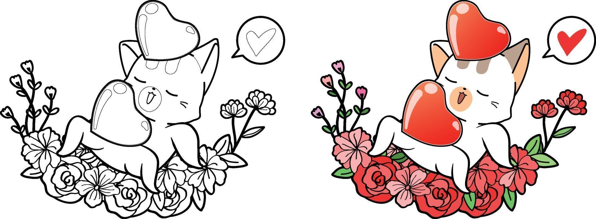 gato fofo e corações com coroa de flores para desenho para colorir de dia dos namorados vetor
