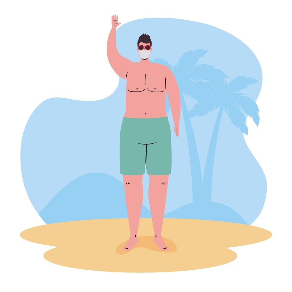 homem de maiô e máscara facial na praia vetor
