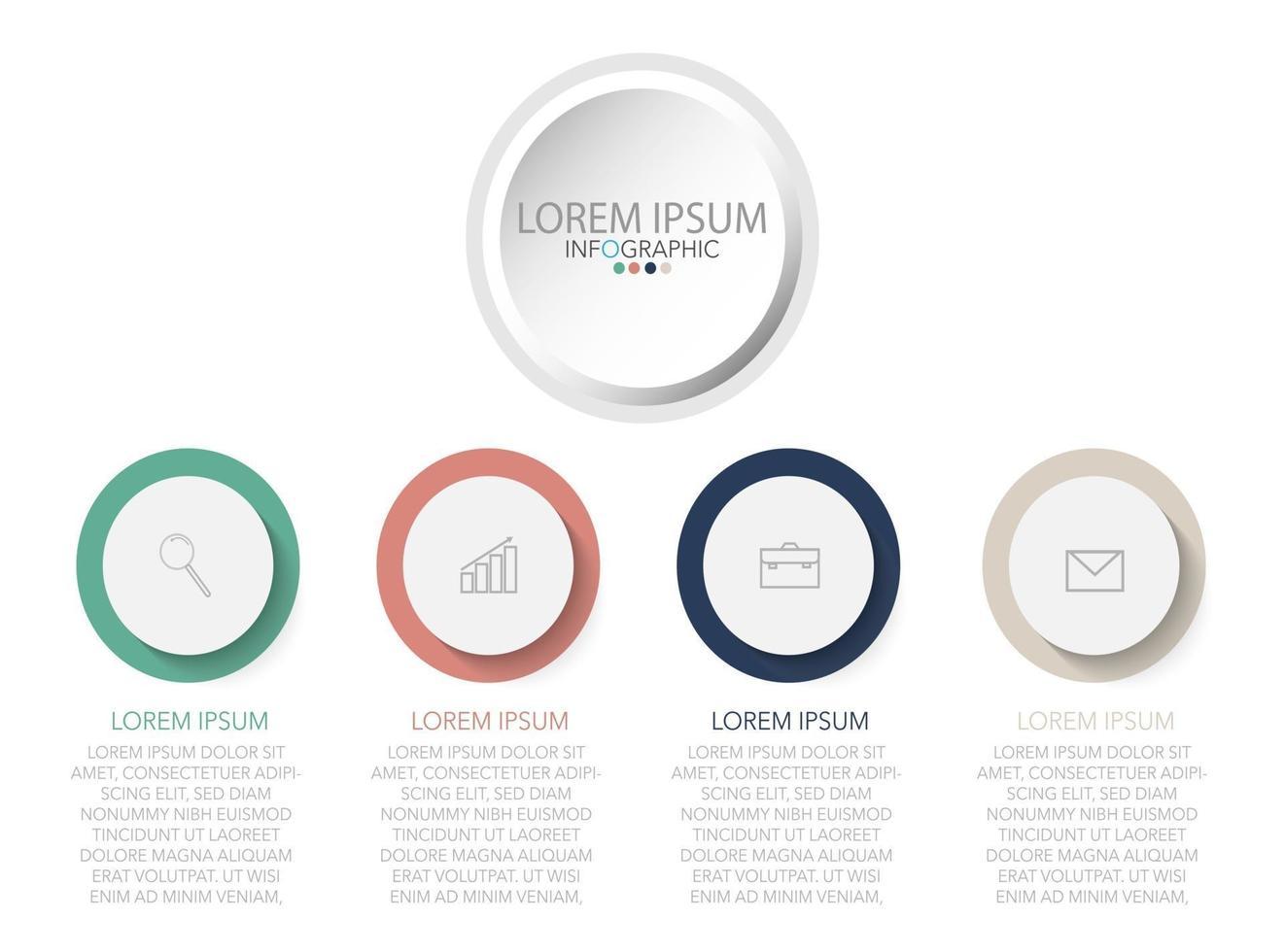 modelo de infográfico em quatro etapas, modelo para diagrama, gráfico, apresentação e gráfico. vetor