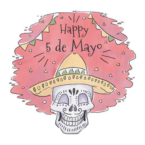 Crânio mexicano bonito com chapéu para Cinco De Mayo vetor