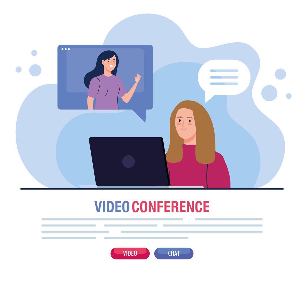mulheres jovens em uma videoconferência via laptop vetor