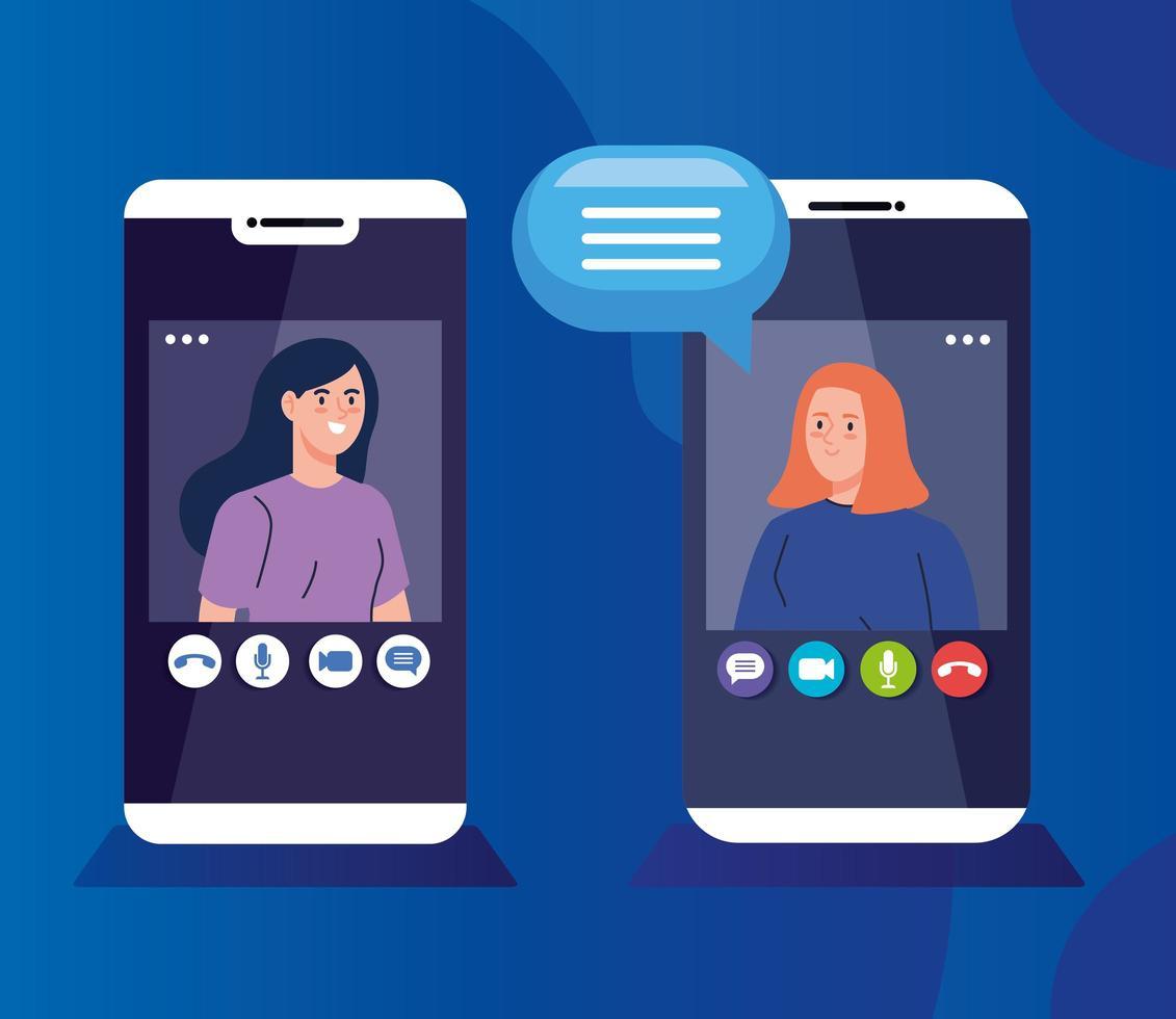 mulheres jovens em uma videoconferência por meio de smartphones vetor