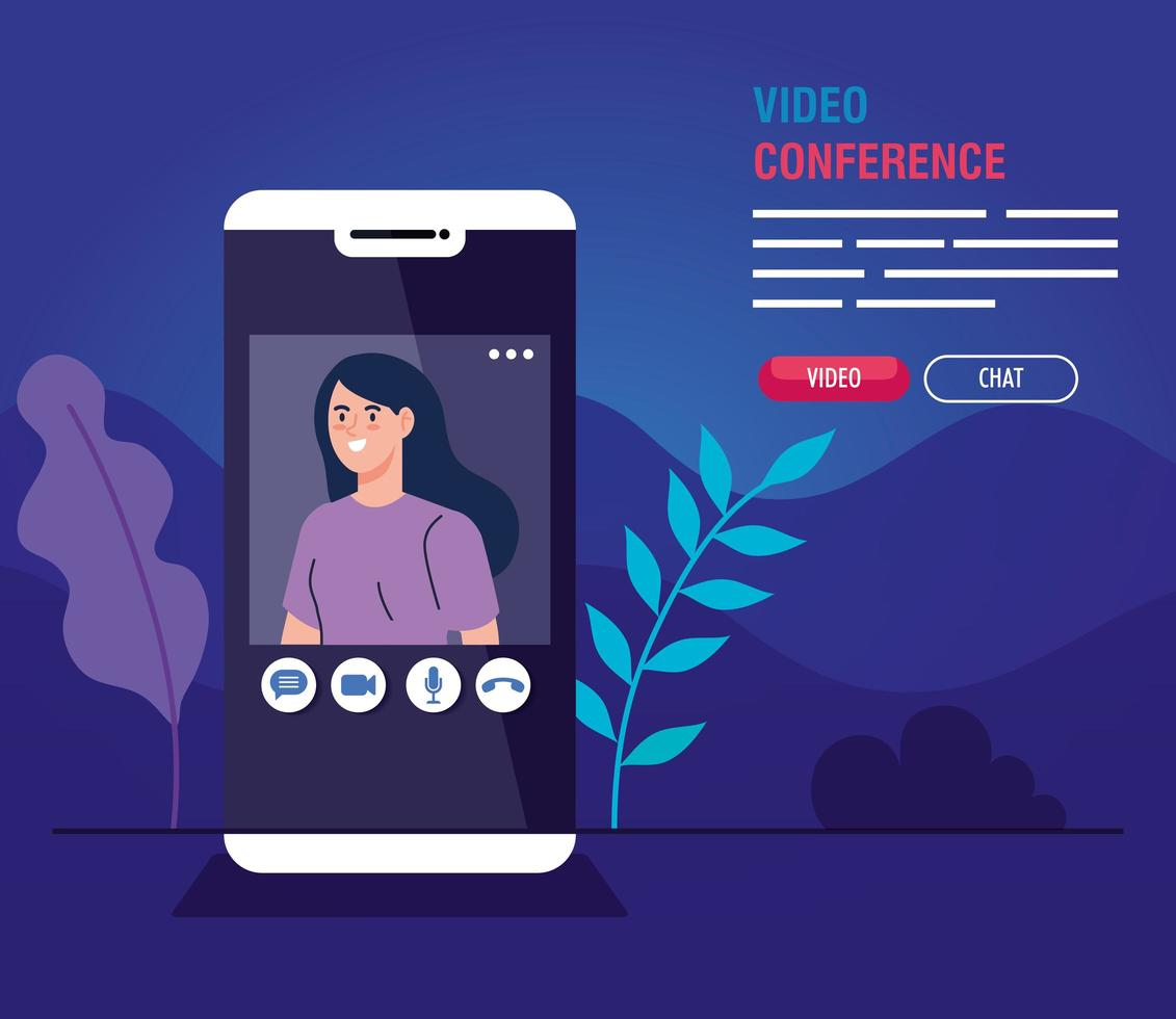 jovem em uma videoconferência via smartphone vetor
