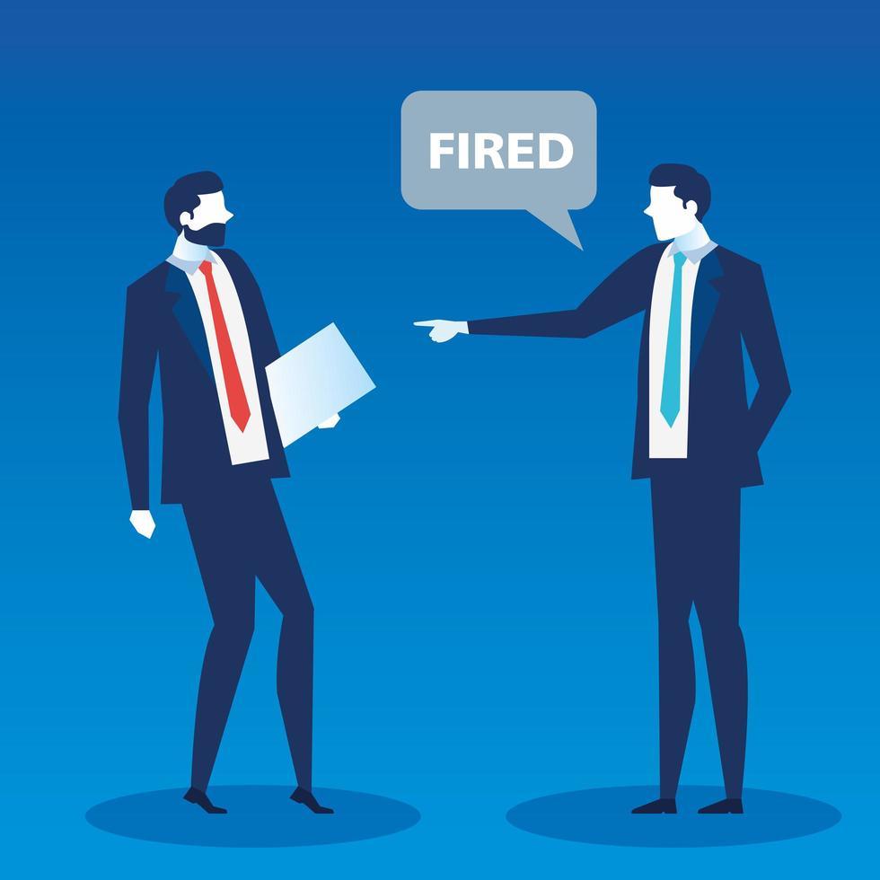 cena de um chefe dizendo ao funcionário que ele está despedido vetor