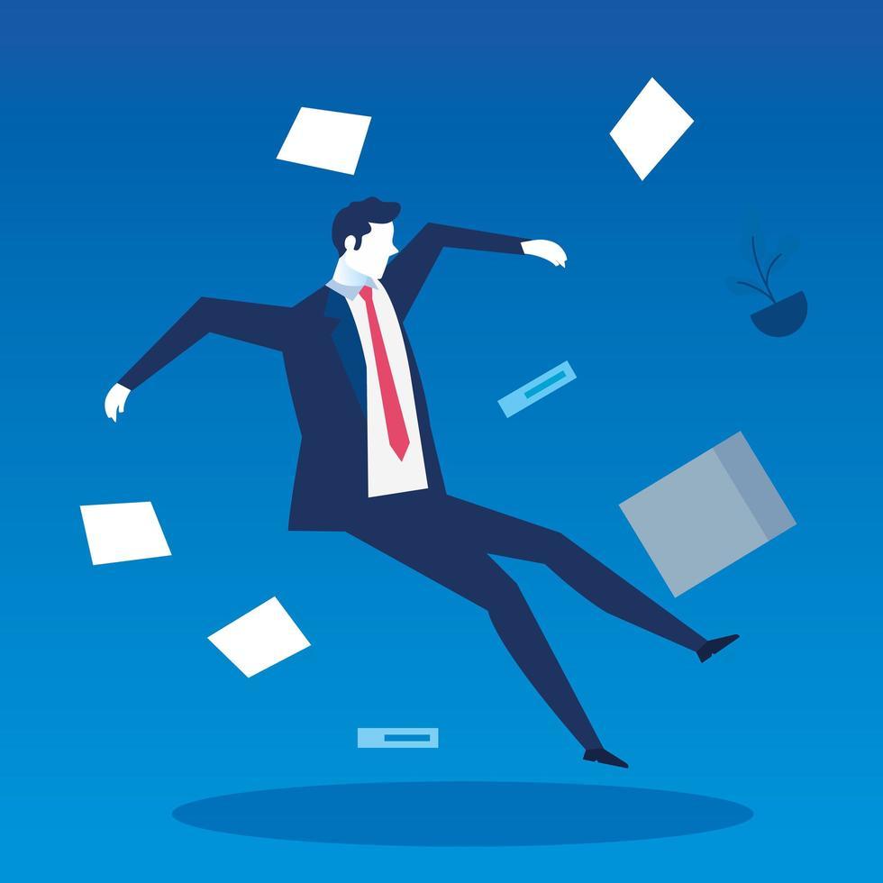 empresário desempregado, caindo com documentos vetor