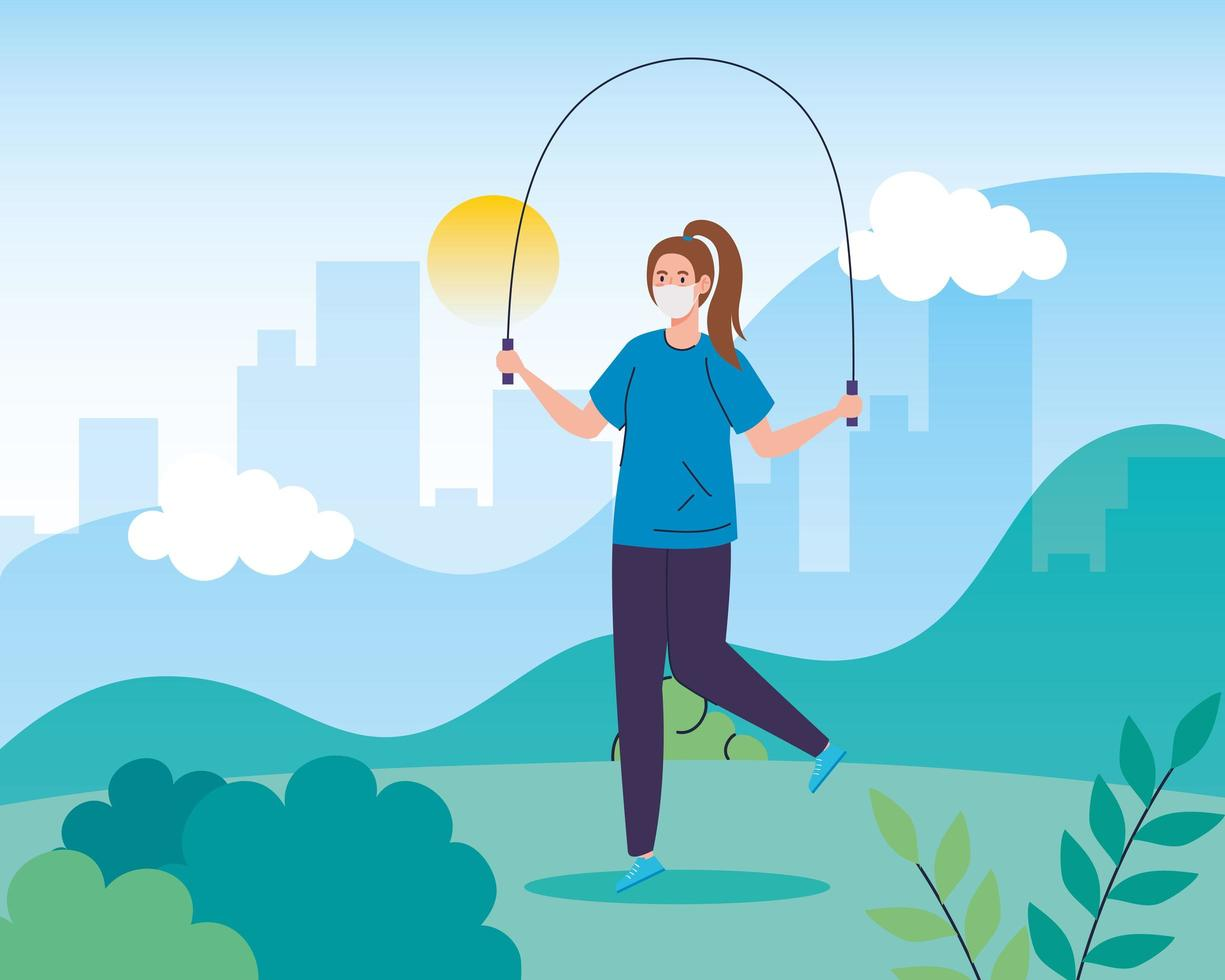 mulher pulando corda ao ar livre com uma máscara facial vetor