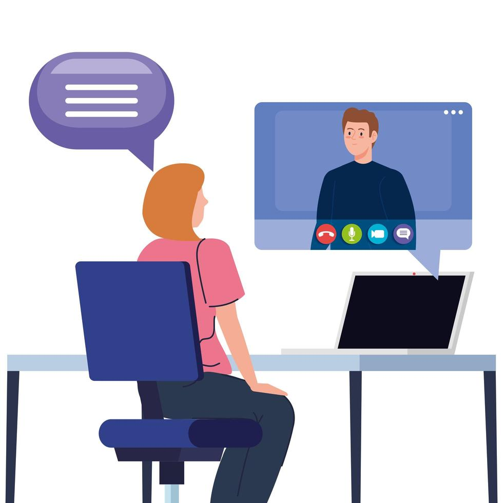 casal em uma videoconferência via laptop vetor