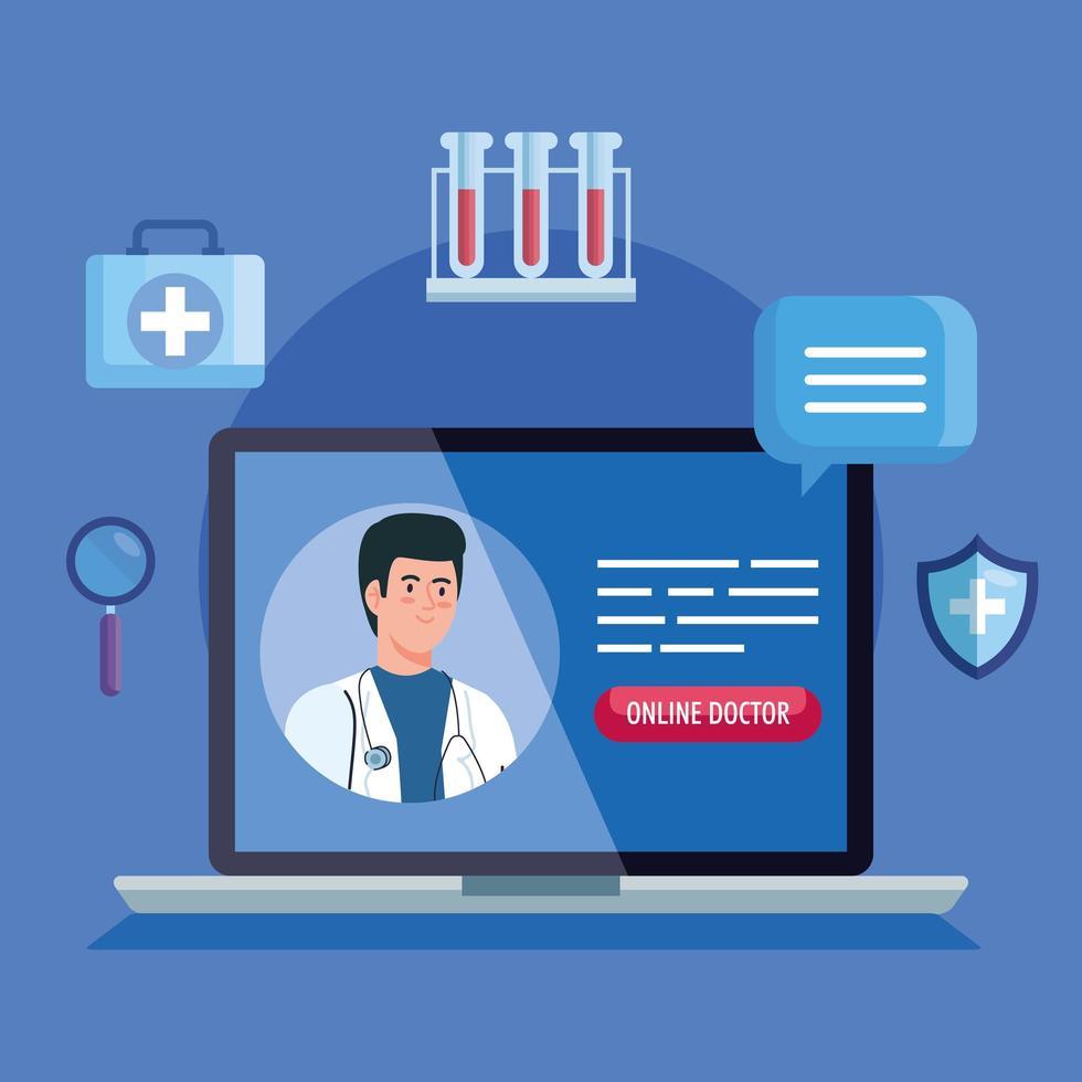 médico no laptop, conceito de medicina online com ícones médicos vetor