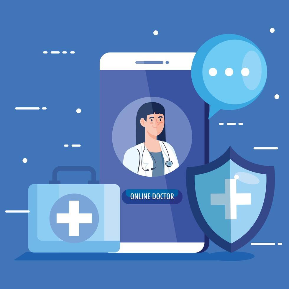 médico no smartphone, conceito de medicina online com ícones médicos vetor
