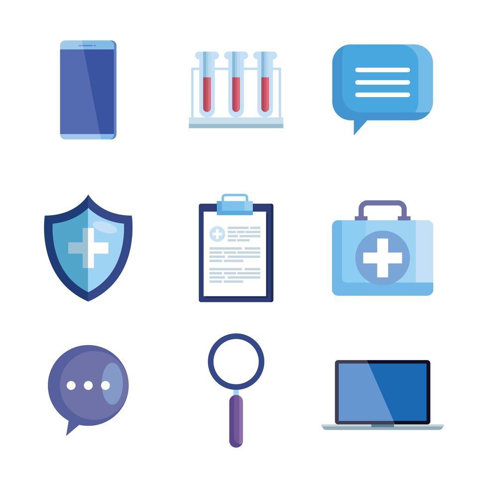 conjunto de ícones de equipamentos de medicina vetor