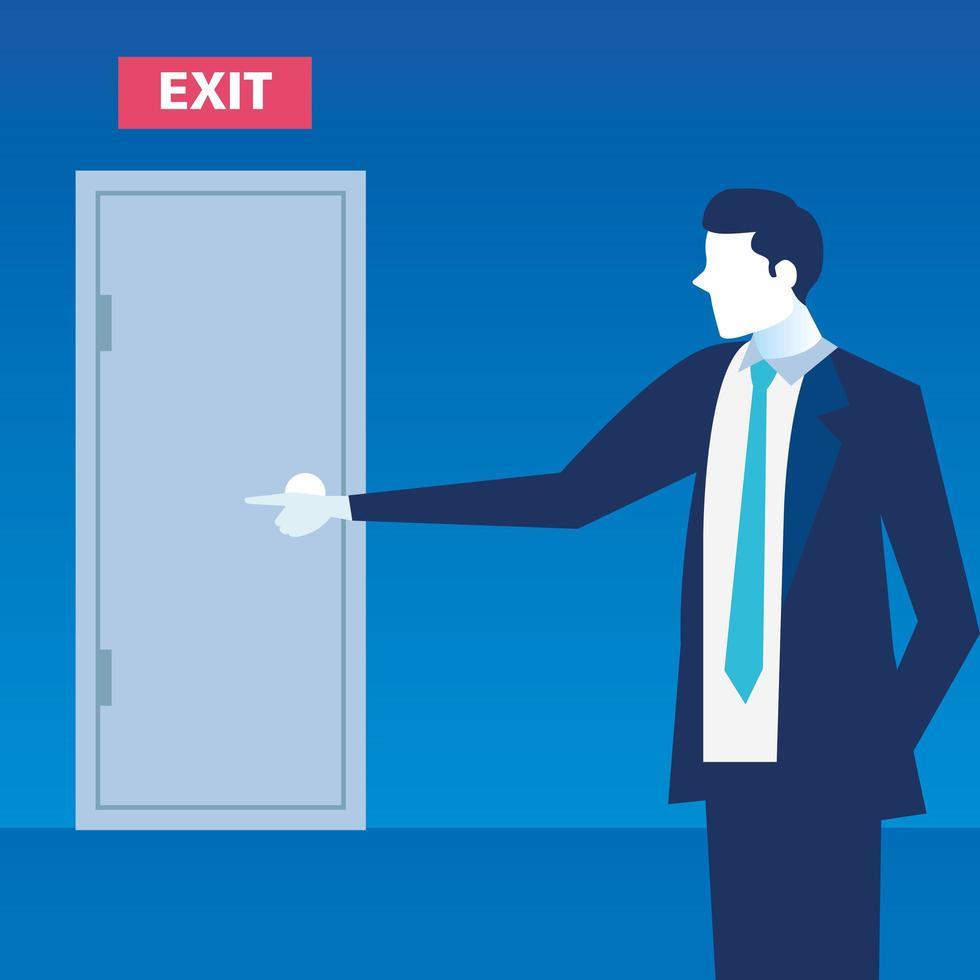 cena de um empresário mostrando a saída vetor