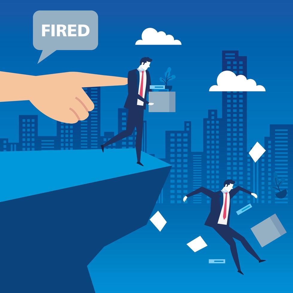 cena de um empresário sendo demitido vetor