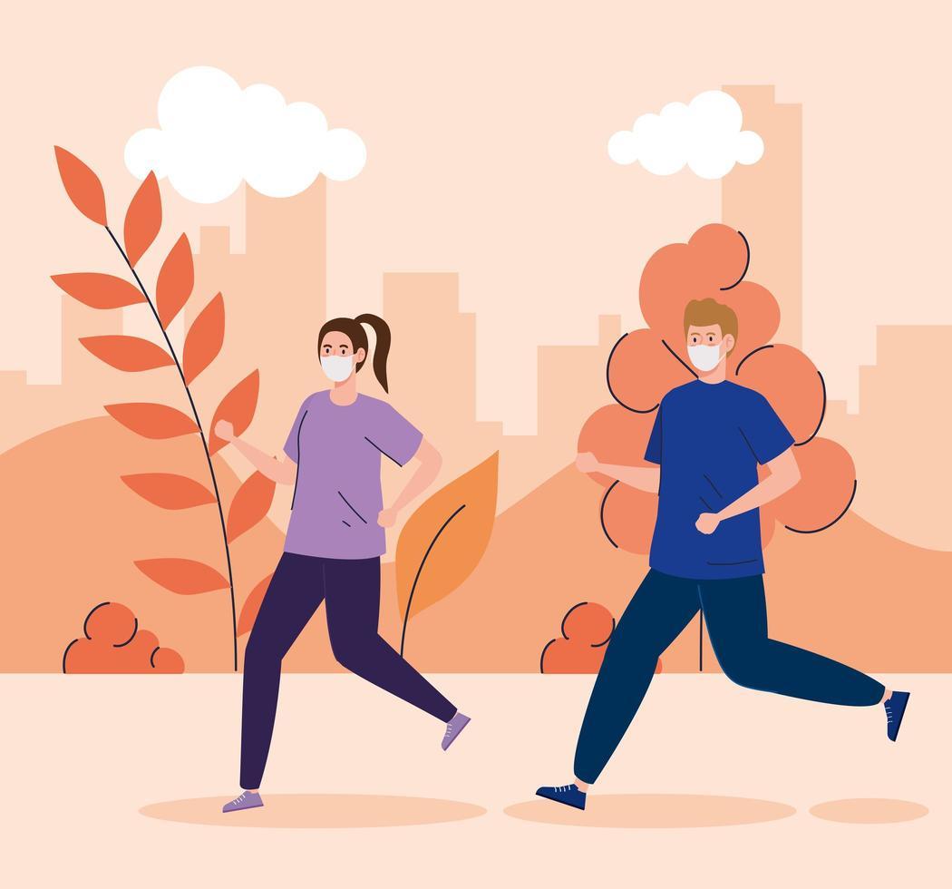 casal correndo ao ar livre com máscaras vetor