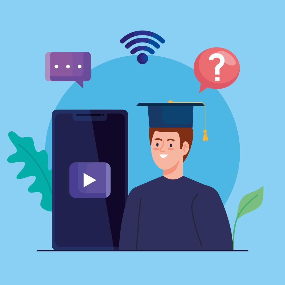 tecnologia de educação online com homem e smartphone vetor